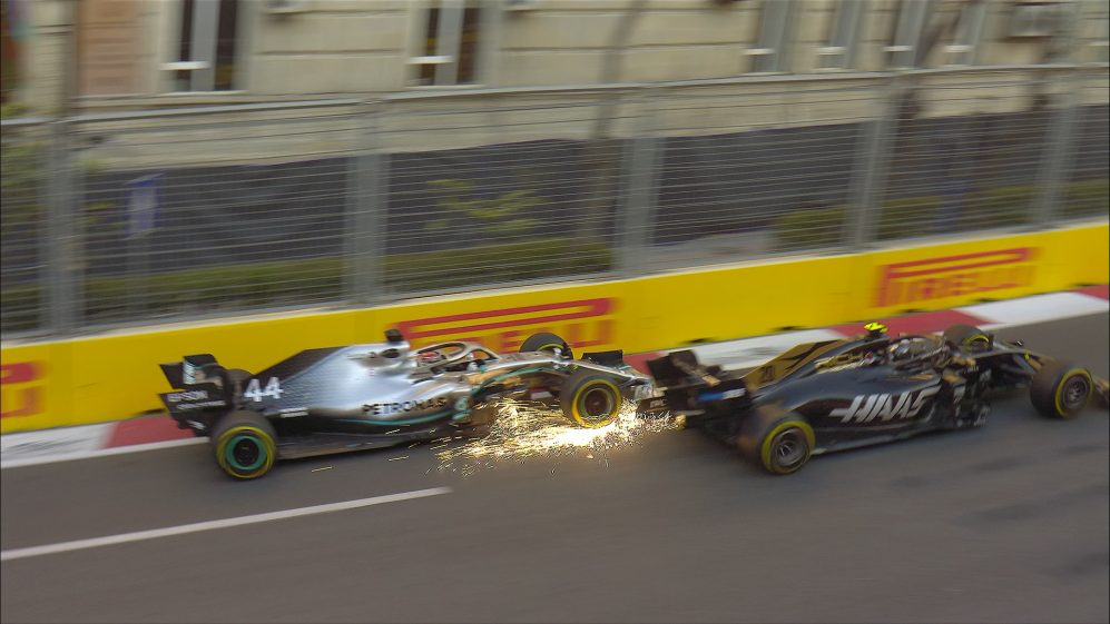 FP2: Hamilton and Magnussen almost collide