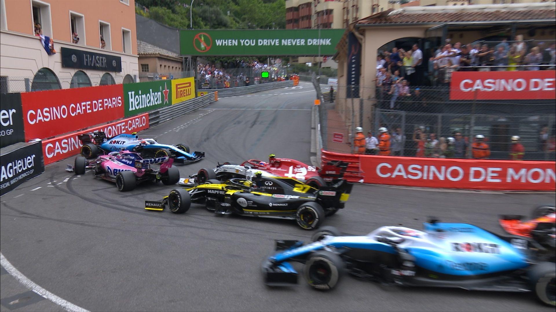 MONACO GP: Giovinazzi spins Kubica, causing Rascasse traffic jam