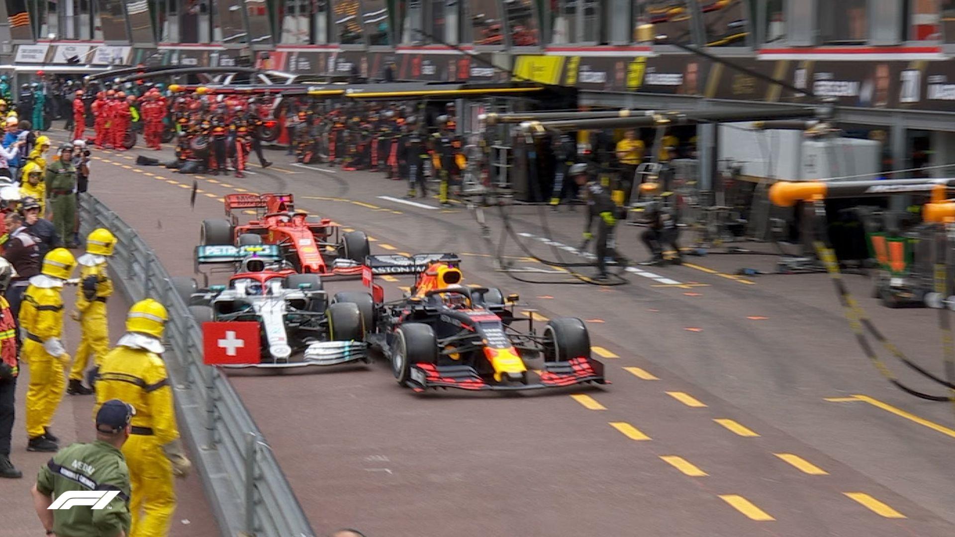 MONACO GP: Verstappen jumps Bottas after contact in the pit lane