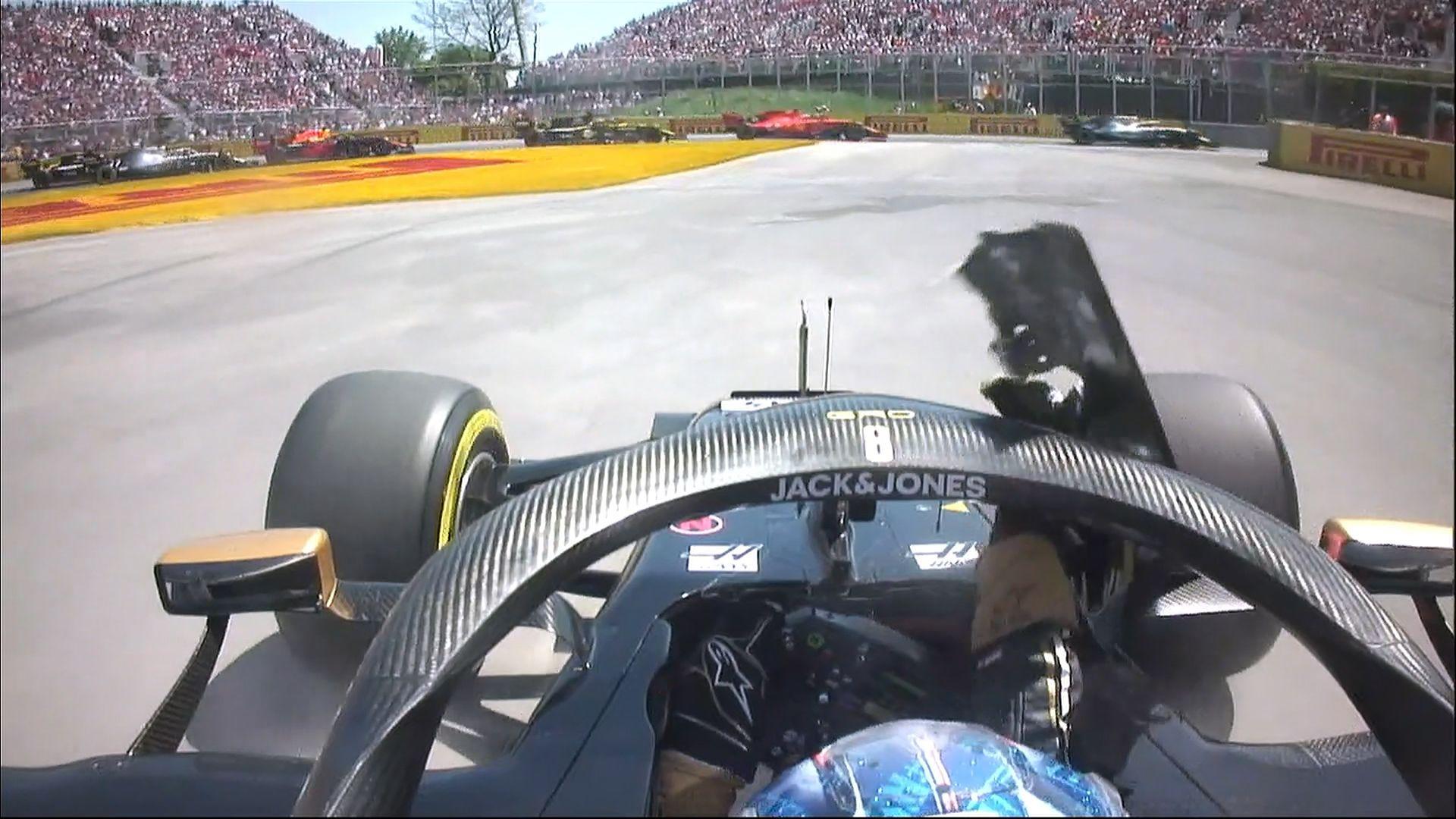 Canadian Gp Grosjean Forced To Discard Debris From Cockpit