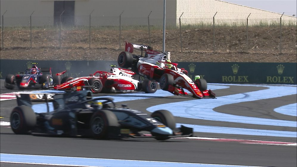 MUST-SEE: Mick Schumacher launched skywards by team mate in F2 Feature Race
