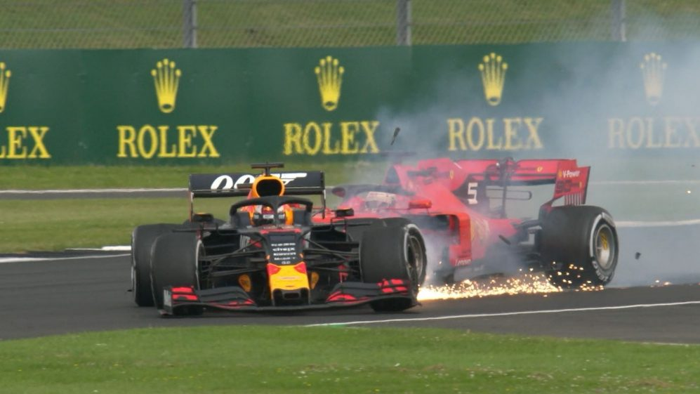 British GP: Vettel runs into back of Verstappen, putting both off