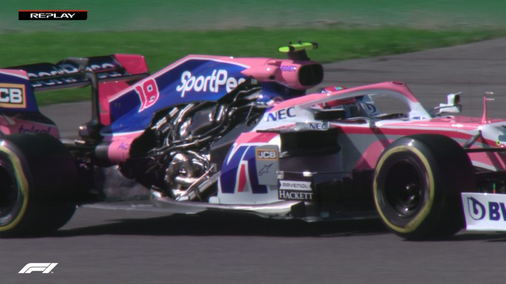 FP1: Stroll's Racing Point loses engine cover at speed