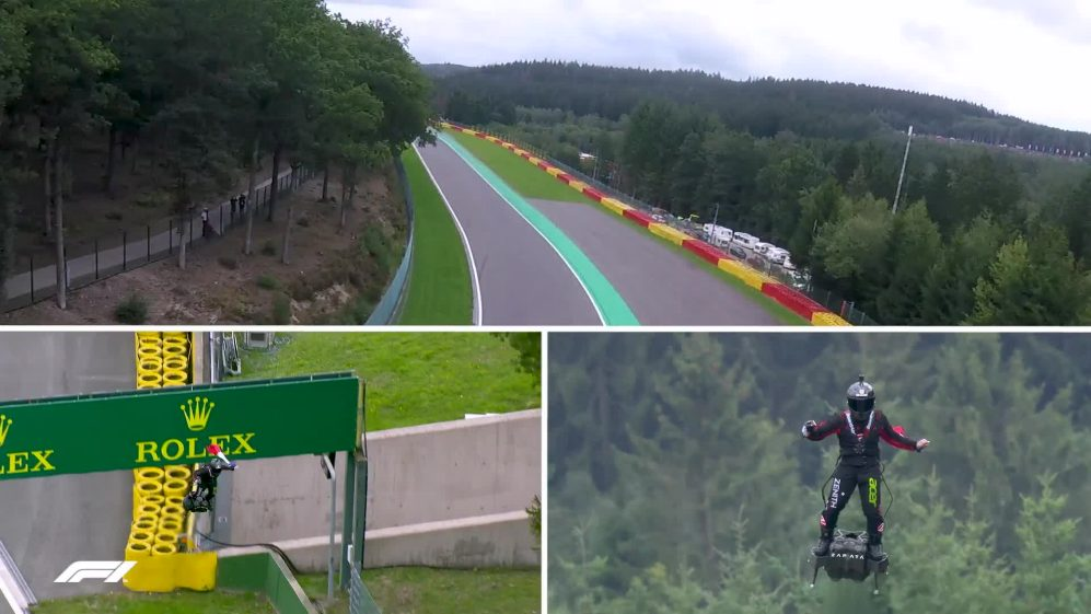 Hoverboard stuntman flies tribute lap around Spa