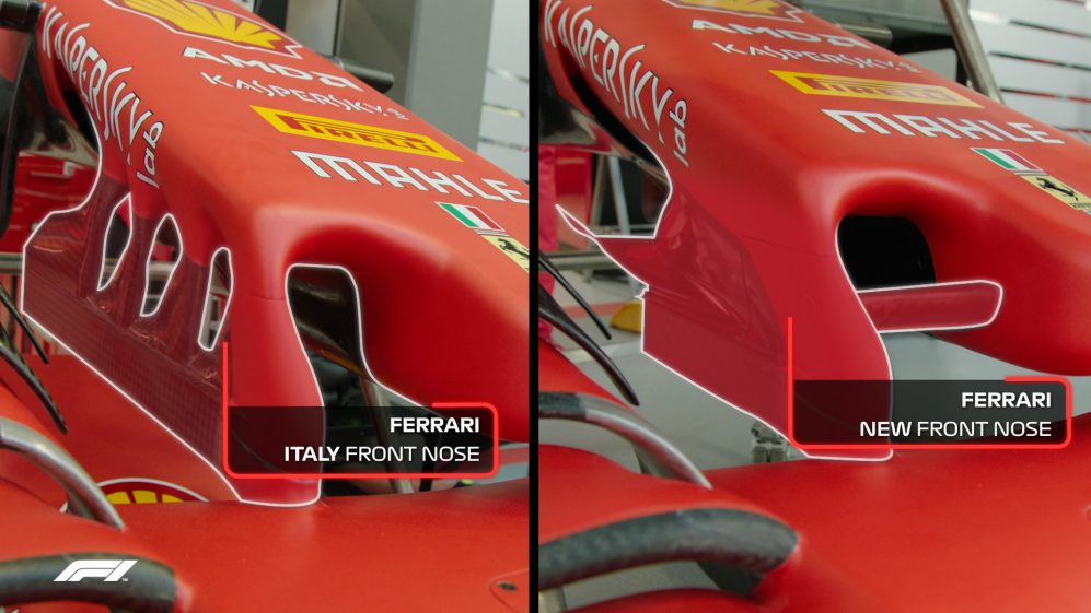 TECH TUESDAY: Ferrari's Italy and Singapore front nose specs compared