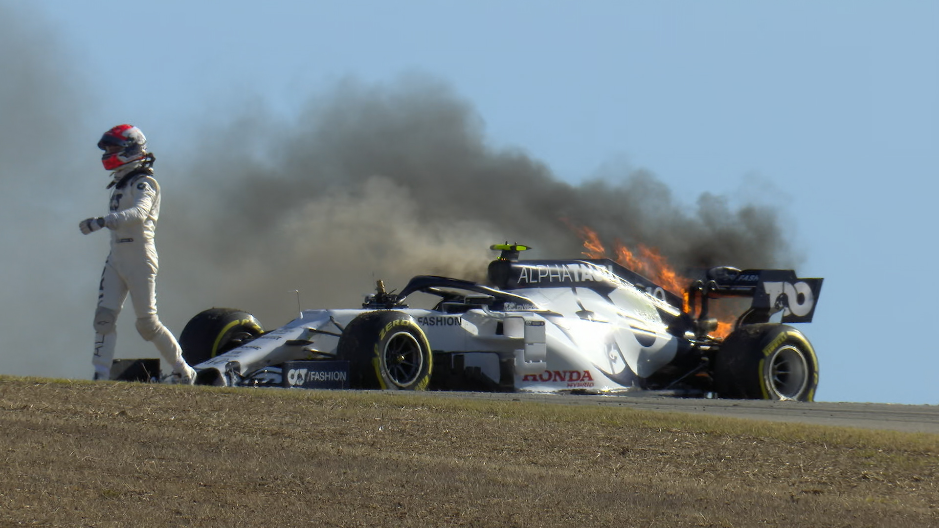 2020 Portuguese GP FP2: AlphaTauri inferno as Gasly catches fireon fire