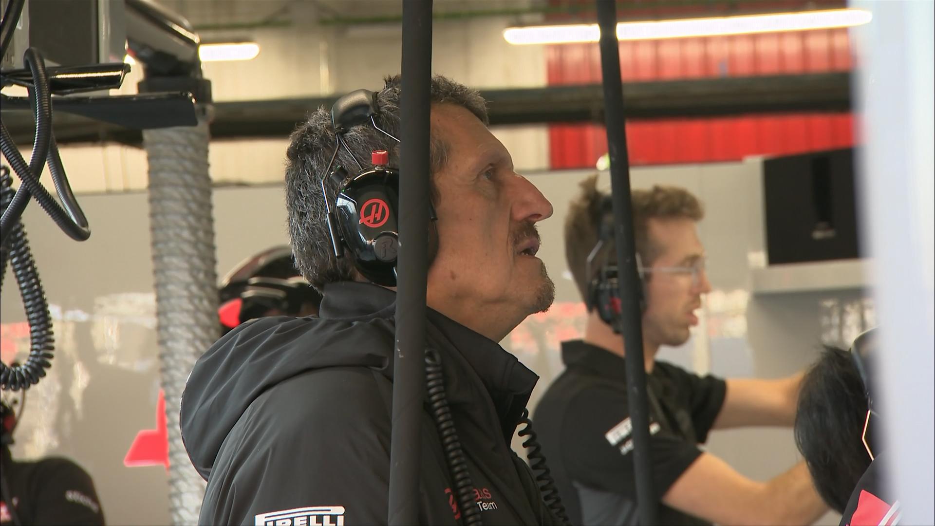 Romain Grosjean slides into gravel trap
