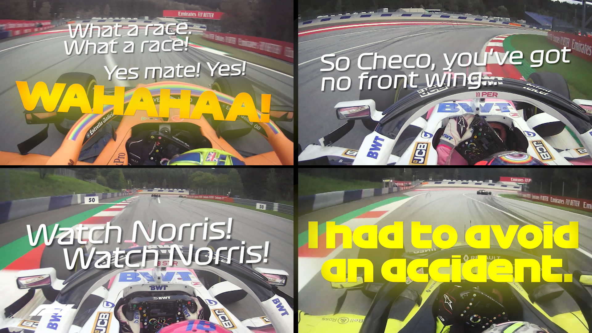 Styrian Grand Prix: Onboard 4-car view of incredible battle