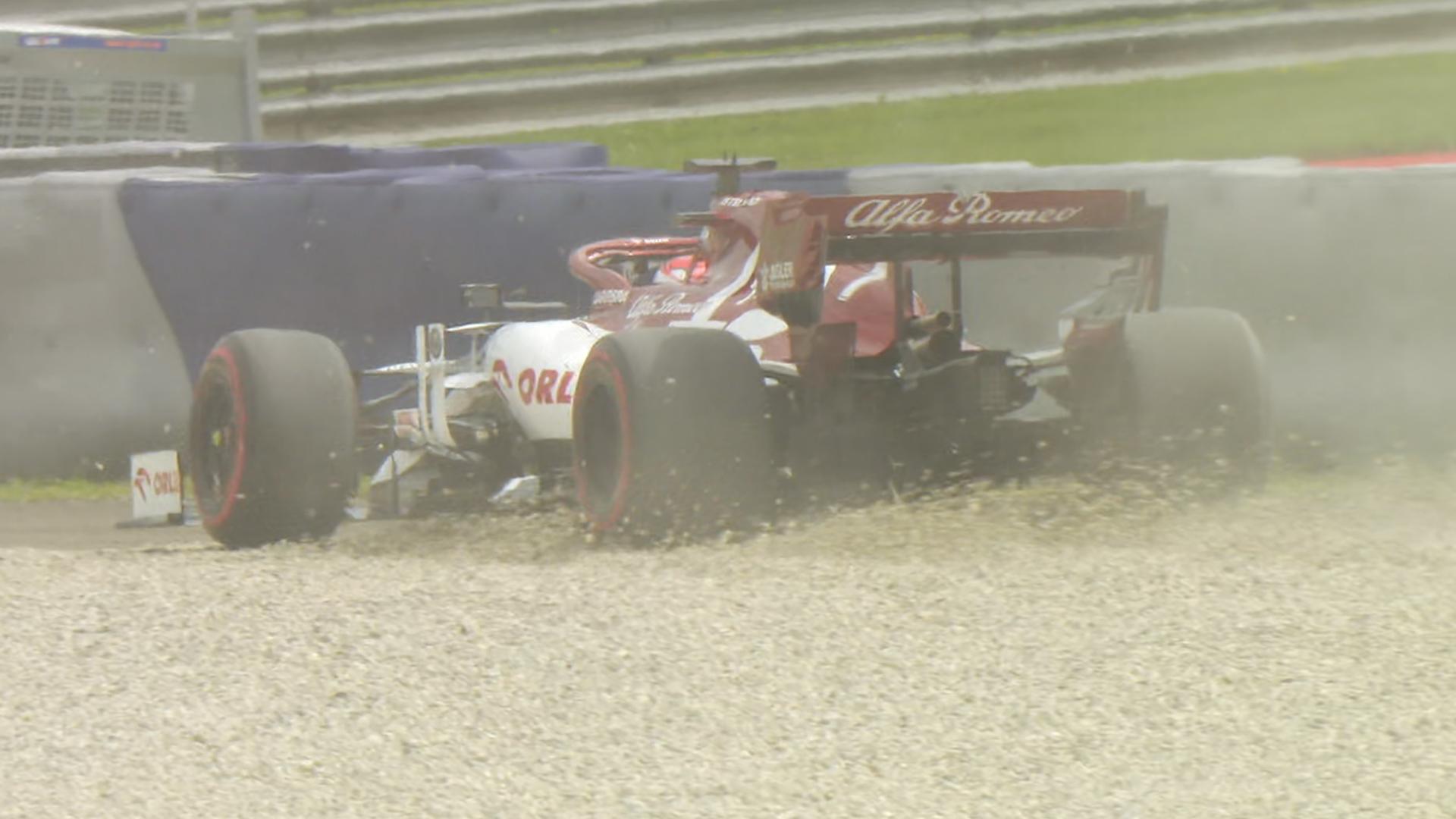 Austria FP2: Raikkonen skids through gravel