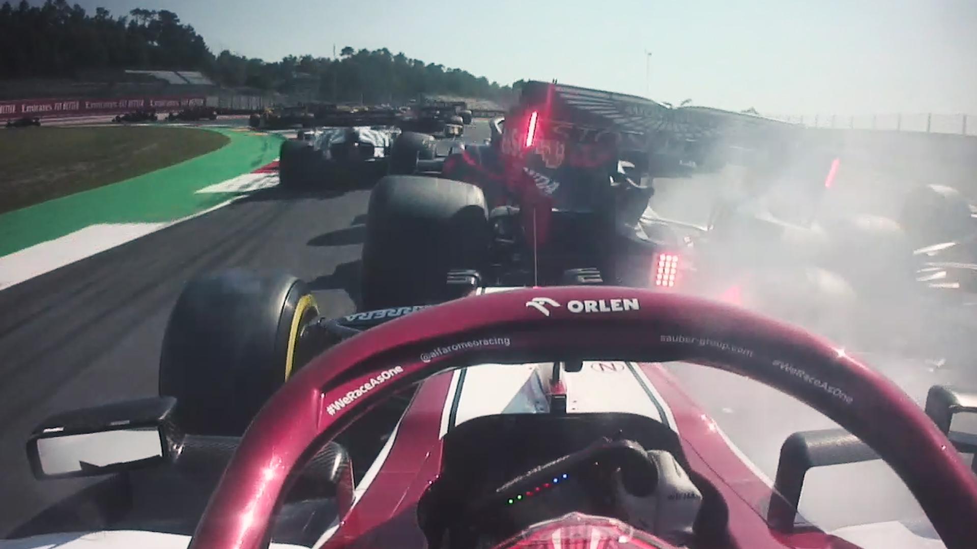 ONBOARD: Brilliant Raikkonen escapes crash at Tuscan GP