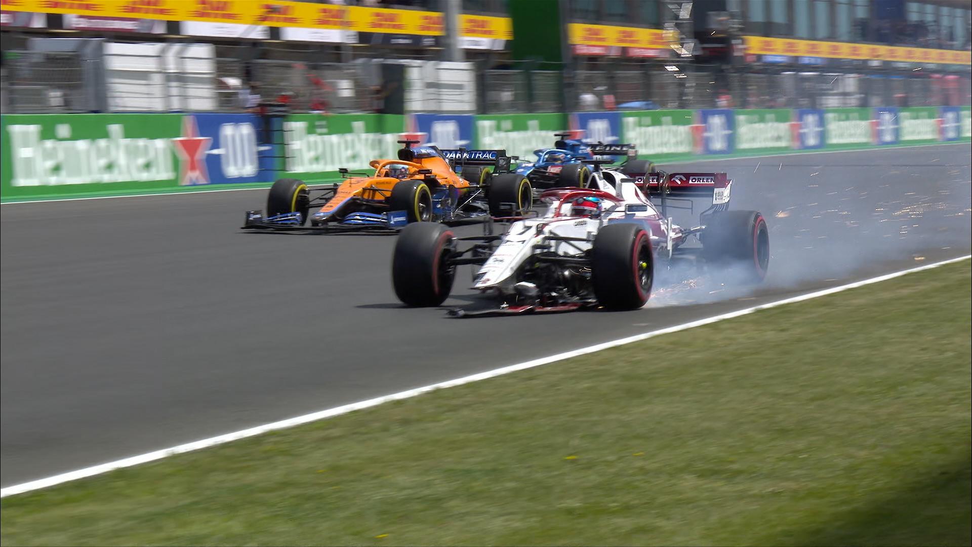 2021 Portuguese Grand Prix: Räikkönen's front wing explodes