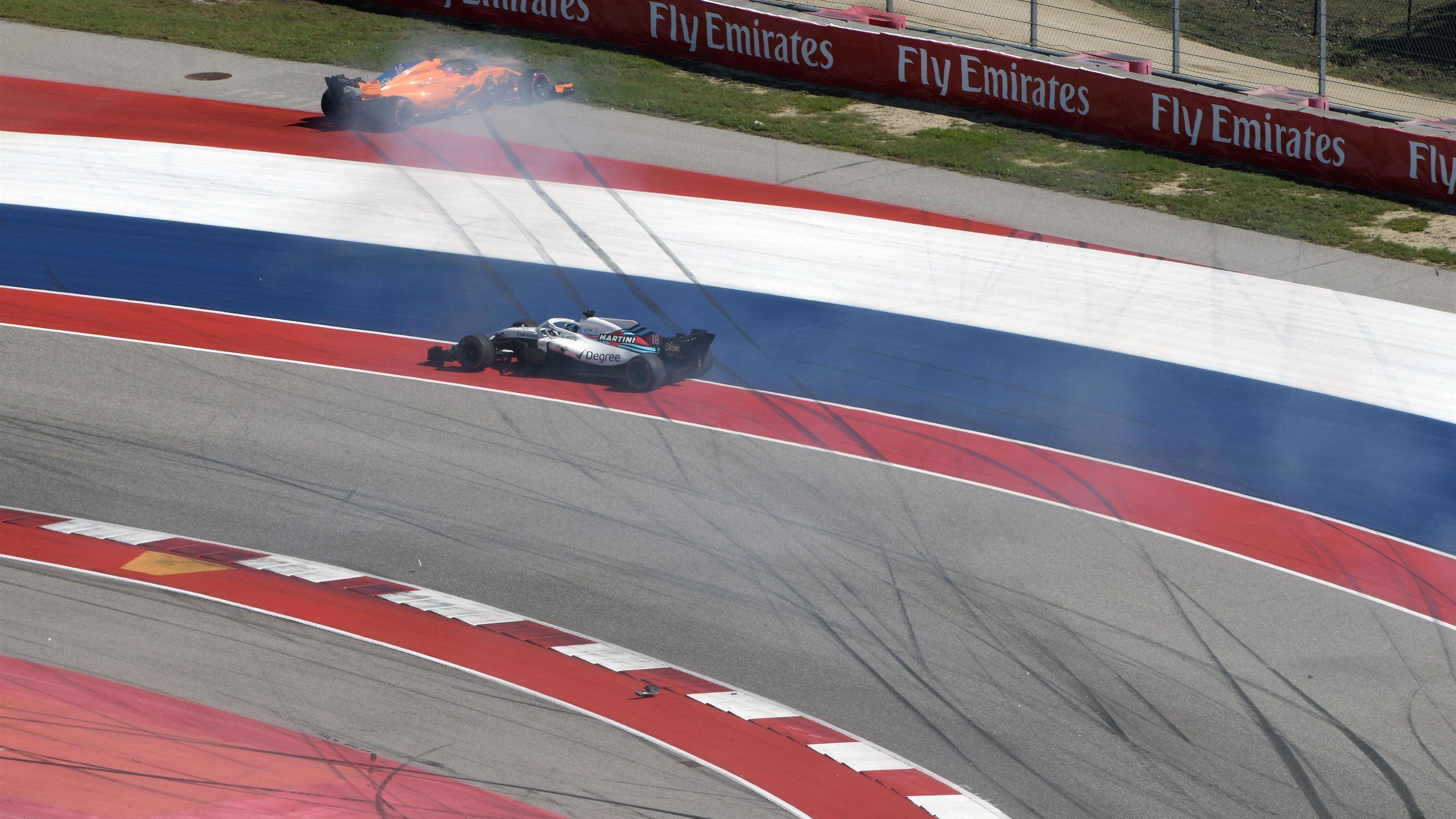 F1: United States Grand Prix 2018 - Fernando Alonso criticises Lance Stroll after lap one crash
