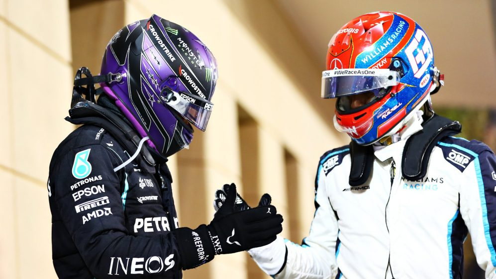 Lewis Hamilton and George Russell, photo by F1 official