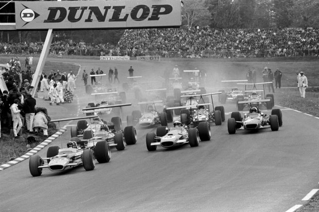 Pole position man Mario Andretti (USA) Lotus 49B gets away ahead of Graham Hill(GBR) Lotus 49B and eventual winner Jackie Stewart(GBR) Matra MS10 US GP, Watkins Glen, 6 October 1968 © Sutton Images. No reproduction without permission