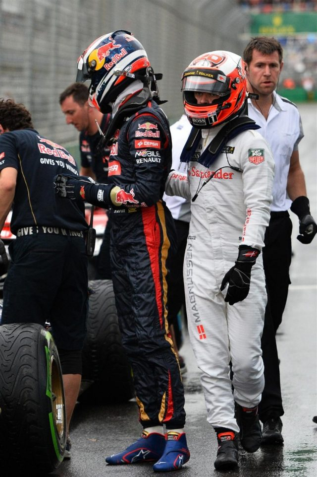 Kevin Magnussen (DEN) McLaren and Daniil Kyvat (RUS) Scuderia Toro Rosso in parc ferme. Formula One World Championship, Rd1, Australian Grand Prix, Qualifying, Albert Park, Melbourne, Australia, Saturday, 15 March 2014