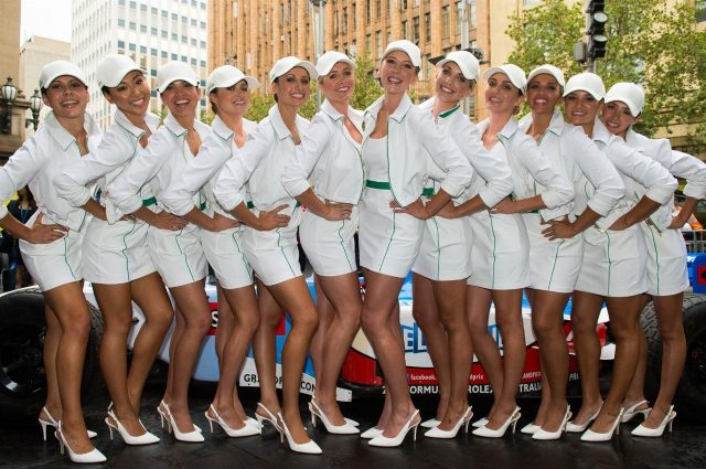 Grid girls at Melbourne Town Hall. Formula One World Championship, Rd1, Australian Grand Prix, Preparations, Albert Park, Melbourne, Australia, Tuesday, 11 March 2014
