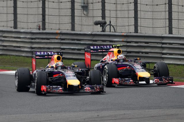 (L to R): Sebastian Vettel (GER) Red Bull Racing RB10 and Daniel Ricciardo (AUS) Red Bull Racing RB10. Formula One World Championship, Rd4, Chinese Grand Prix, Race, Shanghai, China, Sunday, 20 April 2014