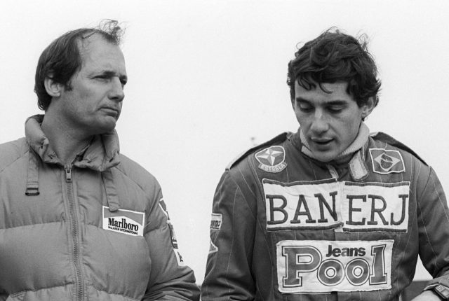 L-R: McLaren boss Ron Dennis (GBR) with Ayrton Senna (BRA) during a McLaren F1 test for F3 drivers. Formula One Testing, Silverstone, England, 25 October 1983.