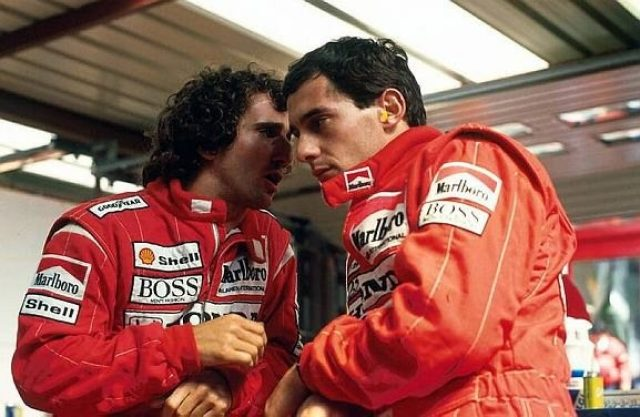 (L to R): Second placed Alain Prost (FRA) with his McLaren team mate Ayrton Senna (BRA), who took pole position and went on to win the race. Belgian Grand Prix, Rd 11, Spa-Francorchamps, Belgium, 28 August 1988