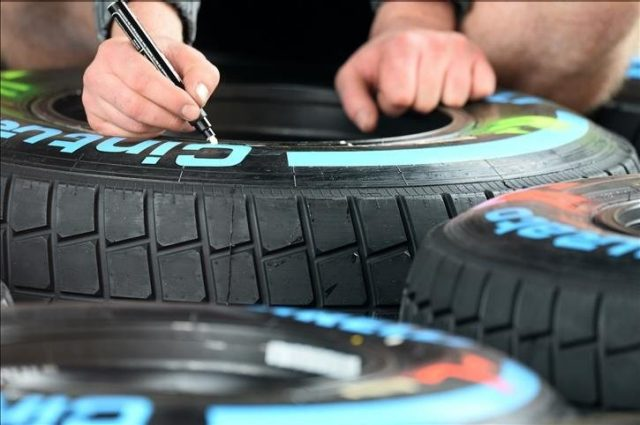 Pirelli tyres. Formula One World Championship, Rd4, Chinese Grand Prix, Preparations, Shanghai, China, Thursday, 17 April 2014