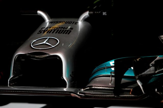 Mercedes AMG F1 W05 front nose and wing detail. Formula One World Championship, Rd5, Spanish Grand Prix, Qualifying, Barcelona, Spain, Saturday, 10 May 2014