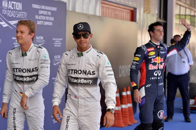 (L to R): Nico Rosberg (GER) Mercedes AMG F1, pole sitter Lewis Hamilton (GBR) Mercedes AMG F1 and Daniel Ricciardo (AUS) Red Bull Racing in parc ferme. Formula One World Championship, Rd5, Spanish Grand Prix, Qualifying, Barcelona, Spain, Saturday, 10 May 2014
