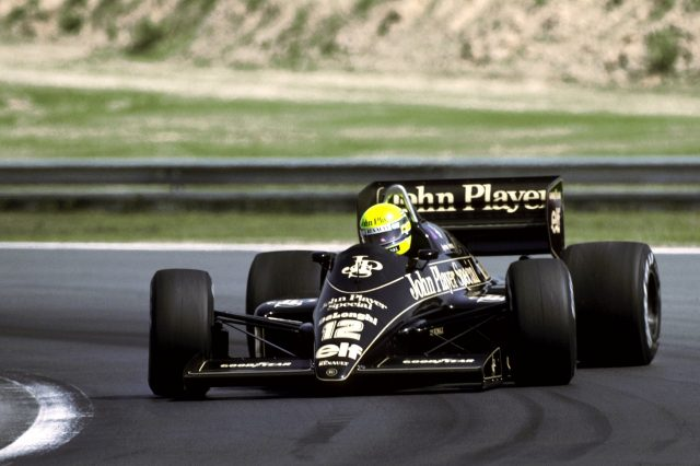 Pole sitter Ayrton Senna (BRA) Lotus 98T finished the race in second position. Hungarian Grand Prix, Hungaroring, 10 August 1986