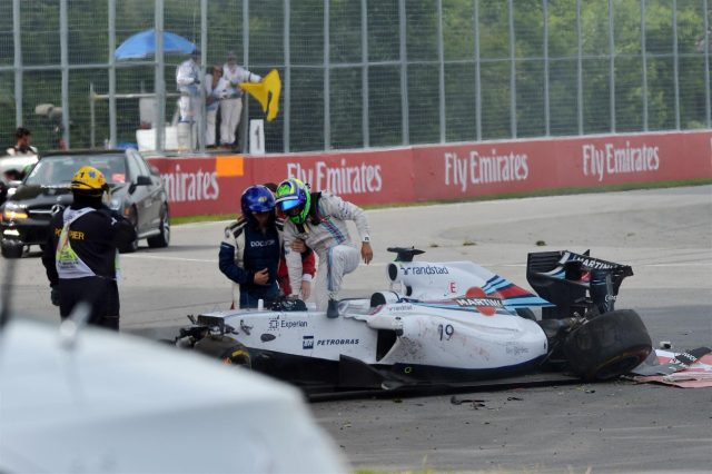 Felipe Massa (BRA) Williams FW36 crashes. Formula One World Championship, Rd7, Canadian Grand Prix, Race Day, Montreal, Canada, Sunday, 8 June 2014
