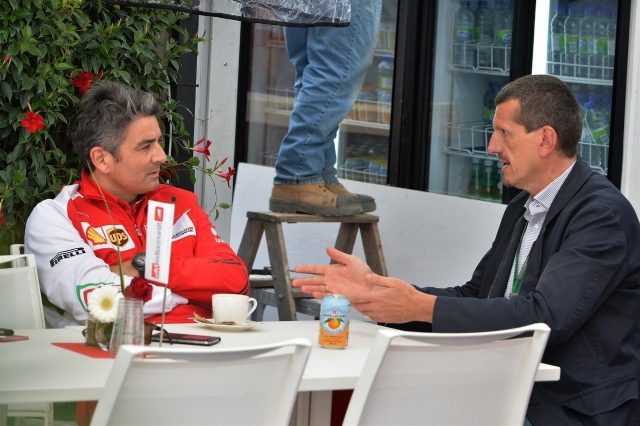(L to R): Marco Mattiacci (ITA) Ferrari Team Principal talks with Guenther Steiner (ITA). Formula One World Championship, Rd7, Canadian Grand Prix, Preparations, Montreal, Canada, Thursday, 5 June 2014