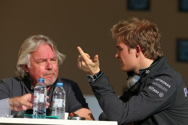 Nico Rosberg (GER) Mercedes AMG F1 with his Father Keke Rosberg (FIN). Formula One Testing, Day One, Bahrain International Circuit, Sakhir, Bahrain, Wednesday, 19 February 2014