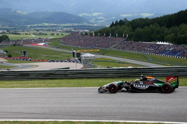 Sergio Perez (MEX) Force India VJM07 and the scenic Red Bull Ring. Formula One World Championship, Rd8, Austrian Grand Prix, Qualifying, Spielberg, Austria, Saturday, 21 June 2014