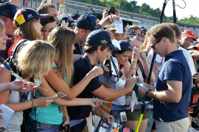 Christian Horner (GBR) Red Bull Racing Team Principal signs autographs for the fans. Formula One World Championship, Rd10, German Grand Prix, Preparations, Hockenheim, Germany, Thursday, 17 July 2014 © Sutton Images. No reproduction without permission