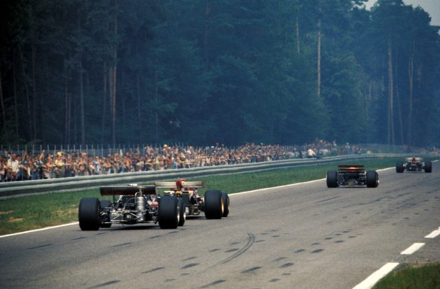 Second Placed Jacky Ickx (BEL) Ferrari 312B leads race winner Jochen Rindt (AUT) Lotus 72C, with race retirees Clay Regazzoni (SUI) Ferrari 312B and Chris Amon (NZL) March 701 following. German Grand Prix, Hockenheim, 2 August 1970. © Sutton Images. No reproduction without permission