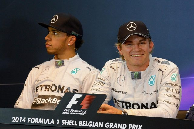 L to R): Lewis Hamilton (GBR) Mercedes AMG F1 (2nd) and Nico Rosberg (GER) Mercedes AMG F1 (pole position) in the post qualifying Press Conference. Formula One World Championship, Rd12, Belgian Grand Prix, Qualifying, Spa-Francorchamps, Belgium, Saturday, 23 August 2014 © Sutton Images. No reproduction without permission