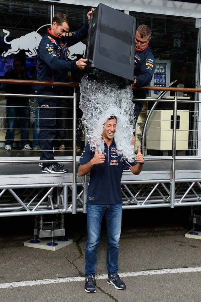 Daniel Ricciardo (AUS) Red Bull Racing takes the ice bucket challenge. Formula One World Championship, Rd12, Belgian Grand Prix, Preparations, Spa-Francorchamps, Belgium, Thursday, 21 August 2014 © Sutton Images. No reproduction without permission