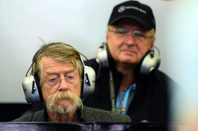 John Hurt (GBR), actor, left, was a guest of Mercedes AMG F1. Formula One World Championship, Rd12, Belgian Grand Prix, Qualifying, Spa-Francorchamps, Belgium, Saturday, 23 August 2014 © Sutton Images. No reproduction without permission