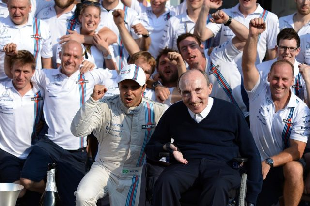Third placed Felipe Massa (BRA) Williams Martini Racing celebrates with Sir Frank Williams (GBR) Williams Team Owner and the team. Formula One World Championship, Rd13, Italian Grand Prix, Monza, Italy, Race Day, Sunday, 7 September 2014 © Sutton Images. No reproduction without permission