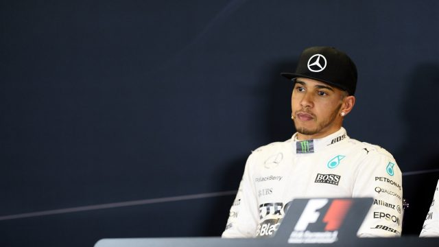 Lewis Hamilton (GBR) Mercedes AMG F1 in the press conference at Formula One World Championship, Rd15, Russian Grand Prix, Qualifying, Sochi Autodrom, Sochi, Krasnodar Krai, Russia, Saturday 10 October 2015. &copy&#x3b; Sutton Motorsport Images