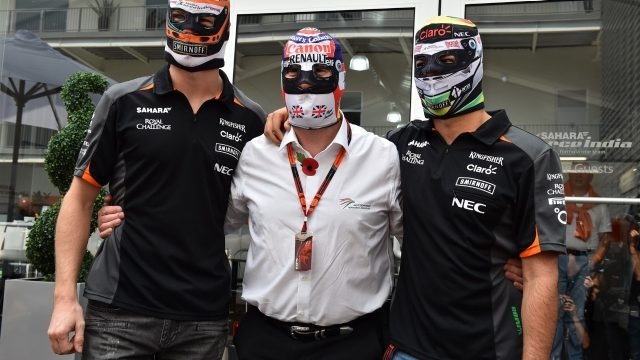 Nico Hulkenberg (GER) Force India F1, Nigel Mansell (GBR) and Sergio Perez (MEX) Force India Lucha Libre masks at Formula One World Championship, Rd17, Mexican Grand Prix, Preparations, Circuit Hermanos Rodriguez, Mexico City, Mexico, Thursday 29 October 2015. &copy&#x3b; Sutton Motorsport Images