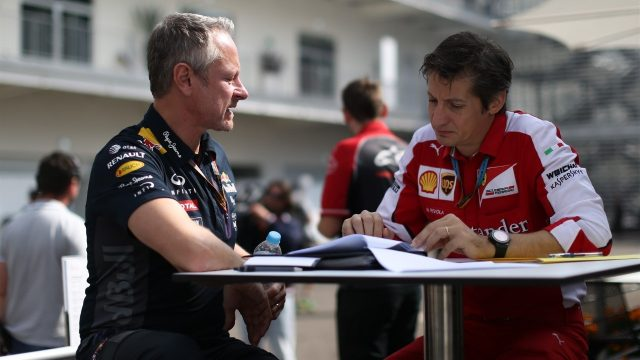 Jonathan Wheatley (GBR) Red Bull Racing Team Manager and Massimo Rivola (ITA) Ferrari Sporting Director at Formula One World Championship, Rd17, Mexican Grand Prix, Preparations, Circuit Hermanos Rodriguez, Mexico City, Mexico, Thursday 29 October 2015. &copy&#x3b; Sutton Motorsport Images