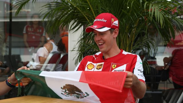Sebastian Vettel (GER) Ferrari with a Mexican Flag at Formula One World Championship, Rd17, Mexican Grand Prix, Preparations, Circuit Hermanos Rodriguez, Mexico City, Mexico, Thursday 29 October 2015. &copy&#x3b; Sutton Motorsport Images