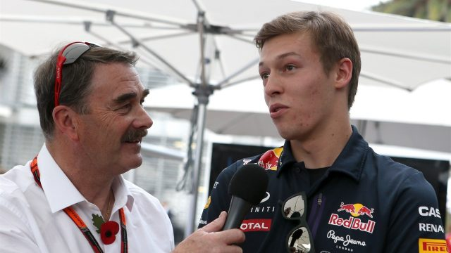 Nigel Mansell (GBR) interviews Daniil Kyvat (RUS) Red Bull Racing at Formula One World Championship, Rd17, Mexican Grand Prix, Preparations, Circuit Hermanos Rodriguez, Mexico City, Mexico, Thursday 29 October 2015. &copy&#x3b; Sutton Motorsport Images