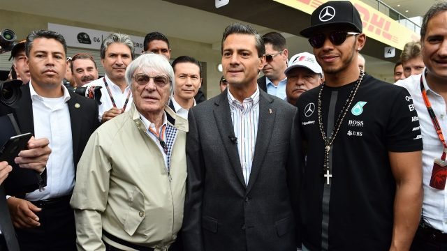 Bernie Ecclestone (GBR) CEO Formula One Group (FOM) with Enrique Pena Nieto (MEX) Mexican Prime Minister and Lewis Hamilton (GBR) Mercedes AMG F1 at Formula One World Championship, Rd17, Mexican Grand Prix, Preparations, Circuit Hermanos Rodriguez, Mexico City, Mexico, Thursday 29 October 2015. &copy&#x3b; Sutton Motorsport Images
