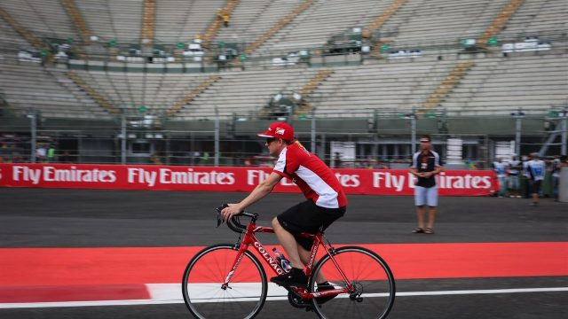 Kimi Raikkonen (FIN) Ferrari rides the circuit on a bike at Formula One World Championship, Rd17, Mexican Grand Prix, Preparations, Circuit Hermanos Rodriguez, Mexico City, Mexico, Thursday 29 October 2015. &copy&#x3b; Sutton Motorsport Images