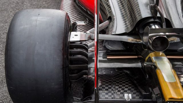Lotus E23 Hybrid rear suspension detail at Formula One World Championship, Rd17, Mexican Grand Prix, Preparations, Circuit Hermanos Rodriguez, Mexico City, Mexico, Thursday 29 October 2015. &copy&#x3b; Sutton Motorsport Images