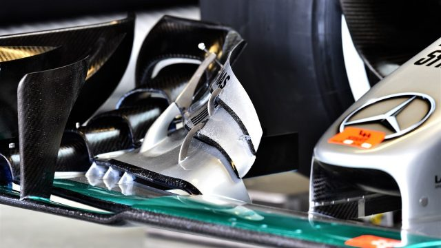 Mercedes AMG F1 W06 front wing detail at Formula One World Championship, Rd17, Mexican Grand Prix, Practice, Circuit Hermanos Rodriguez, Mexico City, Mexico, Friday 30 October 2015. &copy&#x3b; Sutton Motorsport Images