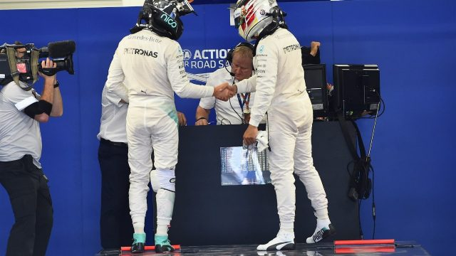Lewis Hamilton (GBR) Mercedes AMG F1 and pole sitter Nico Rosberg (GER) Mercedes AMG F1 in Parc ferme at Formula One World Championship, Rd17, Mexican Grand Prix, Qualifying, Circuit Hermanos Rodriguez, Mexico City, Mexico, Saturday 31 October 2015. &copy&#x3b; Sutton Motorsport Images