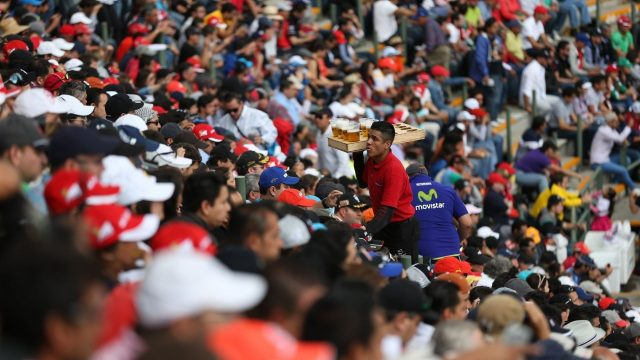 Fans and beer at Formula One World Championship, Rd17, Mexican Grand Prix, Qualifying, Circuit Hermanos Rodriguez, Mexico City, Mexico, Saturday 31 October 2015. &copy&#x3b; Sutton Motorsport Images