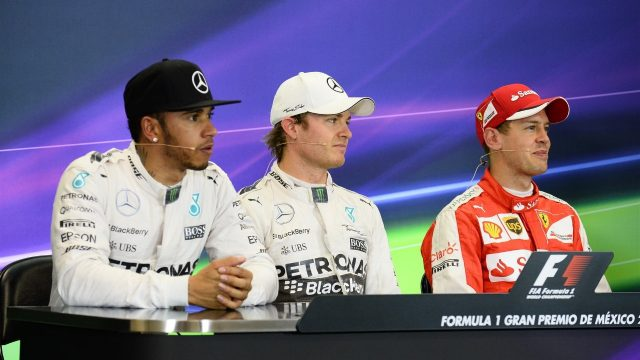 (L to R): Lewis Hamilton (GBR) Mercedes AMG F1, Pole sitter Nico Rosberg (GER) Mercedes AMG F1 and Sebastian Vettel (GER) Ferrari in the press conference at Formula One World Championship, Rd17, Mexican Grand Prix, Qualifying, Circuit Hermanos Rodriguez, Mexico City, Mexico, Saturday 31 October 2015. &copy&#x3b; Sutton Motorsport Images