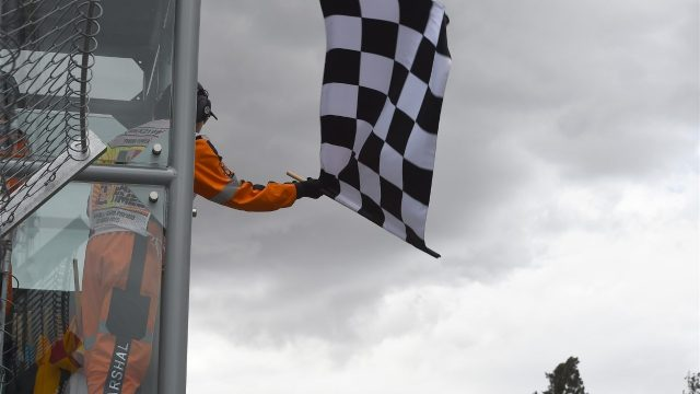 Chequered flag at Formula One World Championship, Rd17, Mexican Grand Prix, Qualifying, Circuit Hermanos Rodriguez, Mexico City, Mexico, Saturday 31 October 2015. &copy&#x3b; Sutton Motorsport Images